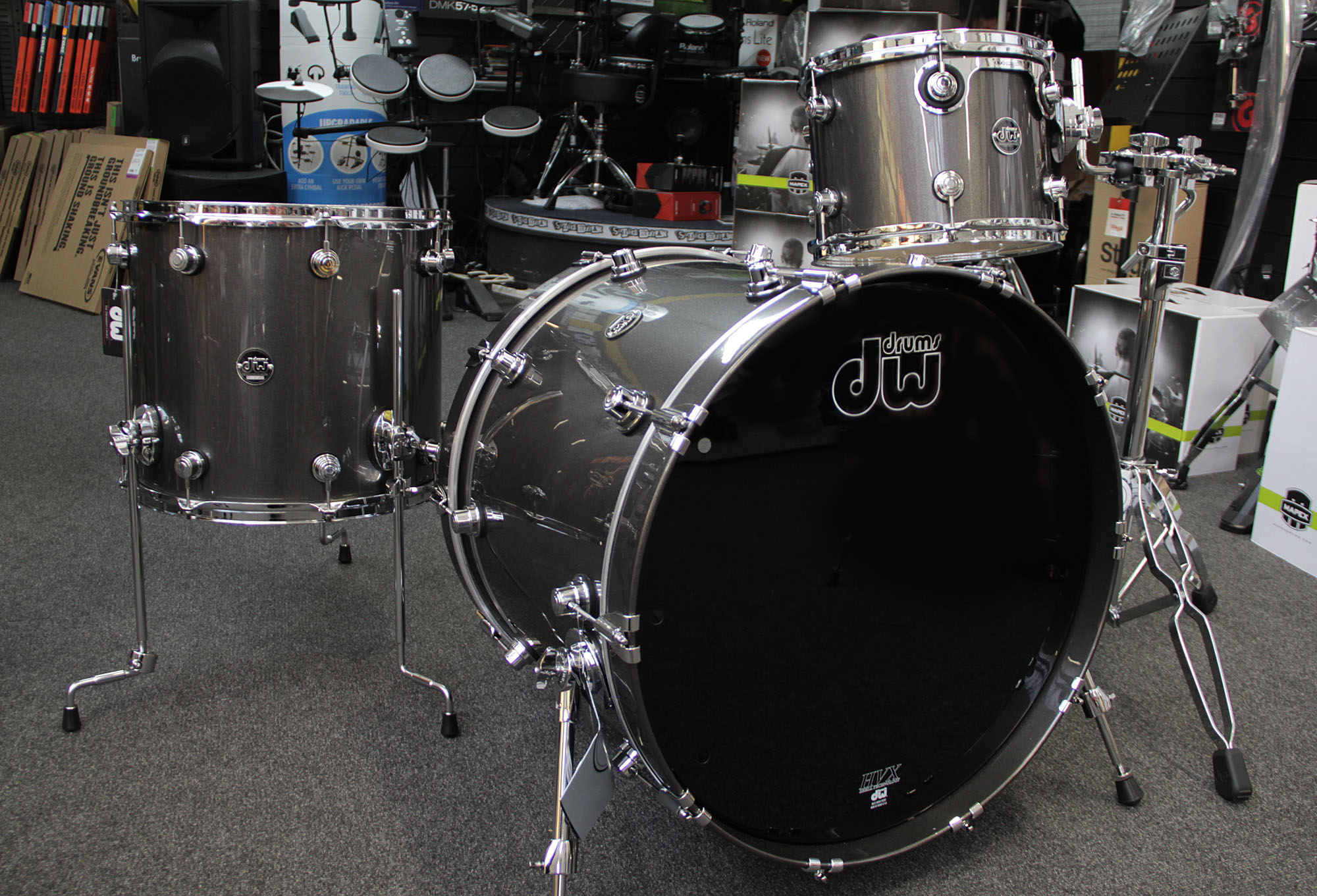drums dw performance series lacquer gun metal metallic shell pack. Black Bedroom Furniture Sets. Home Design Ideas