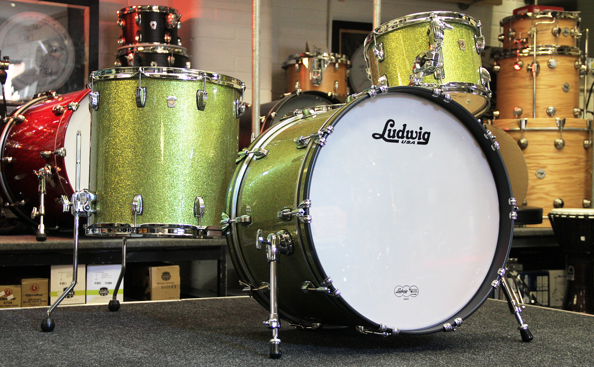 Drums ludwig usa custom classic maple drum kit olive for Classic house drums