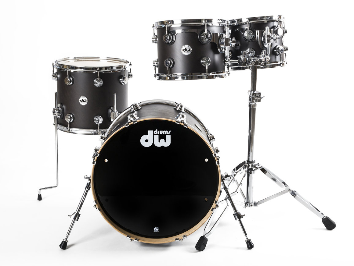 acoustic drum kits dw collectors maple 20 39 39 4 piece shell pack ebony satin oil w chrome. Black Bedroom Furniture Sets. Home Design Ideas