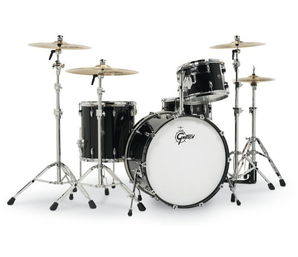acoustic drum kits gretsch renown maple 22 39 39 3 piece shell pack piano black. Black Bedroom Furniture Sets. Home Design Ideas