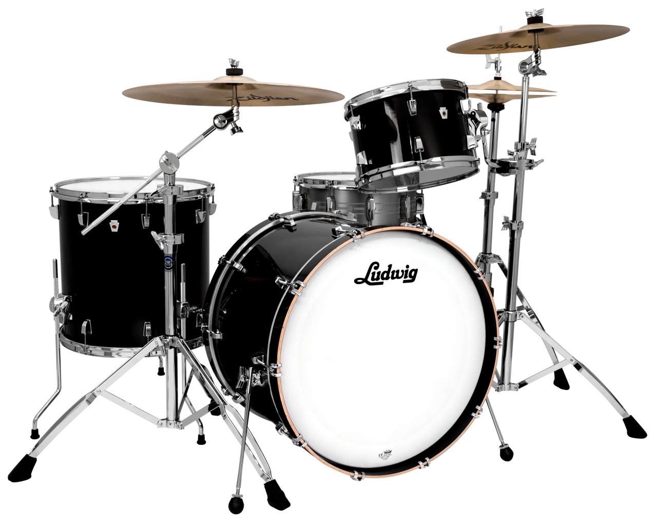 acoustic drum kits ludwig neusonic 20 39 39 3 piece shell pack black cortex. Black Bedroom Furniture Sets. Home Design Ideas