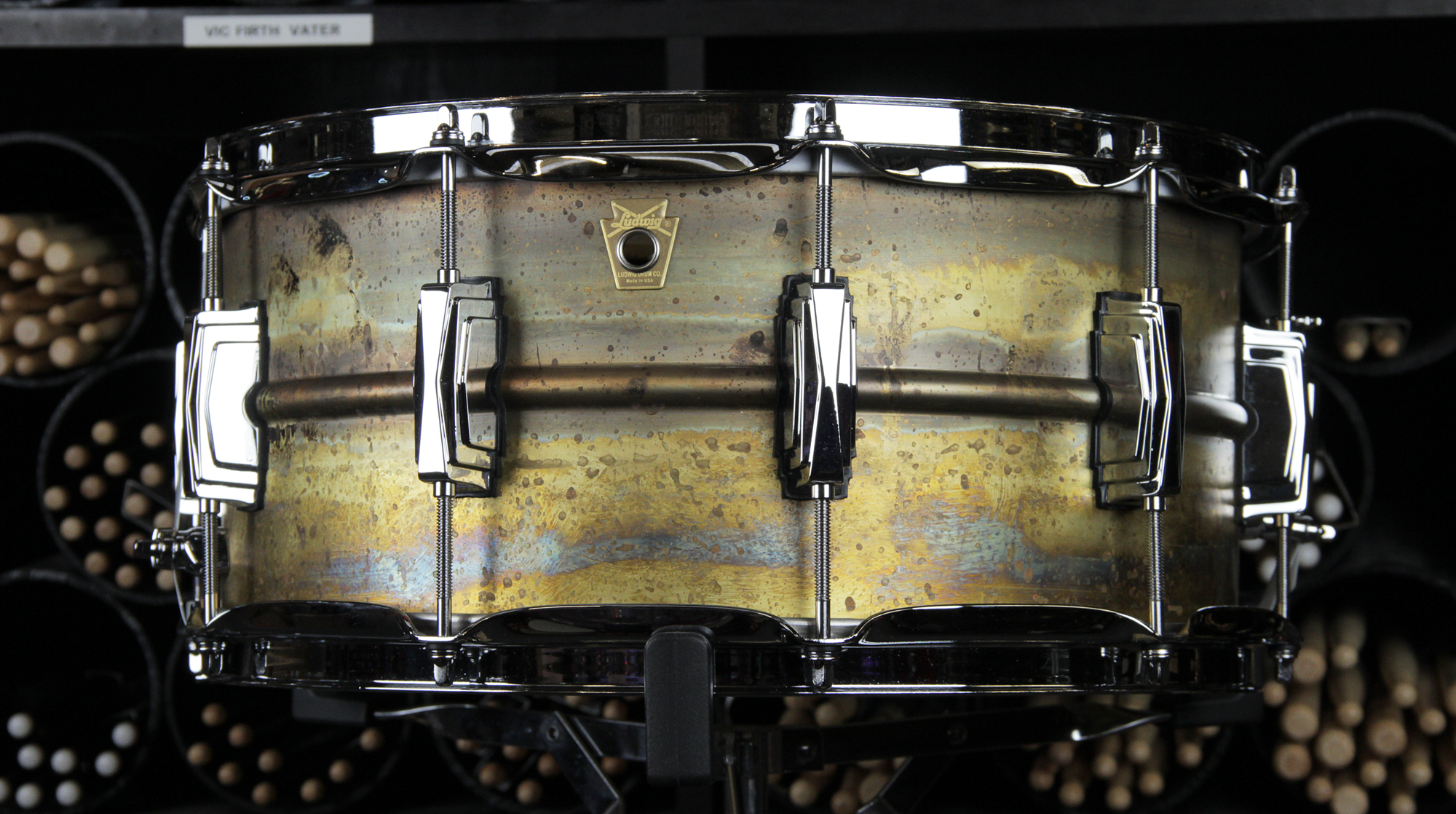 snare drums ludwig usa raw brass supraphonic snare drum 14x6 5 39 39. Black Bedroom Furniture Sets. Home Design Ideas