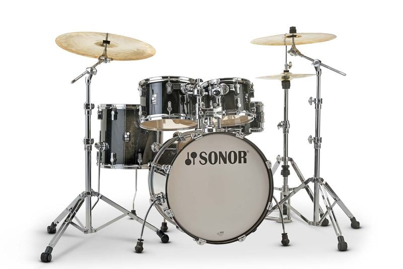 acoustic drum kits sonor aq2 stage 22 39 39 5 piece shell pack transparent black. Black Bedroom Furniture Sets. Home Design Ideas
