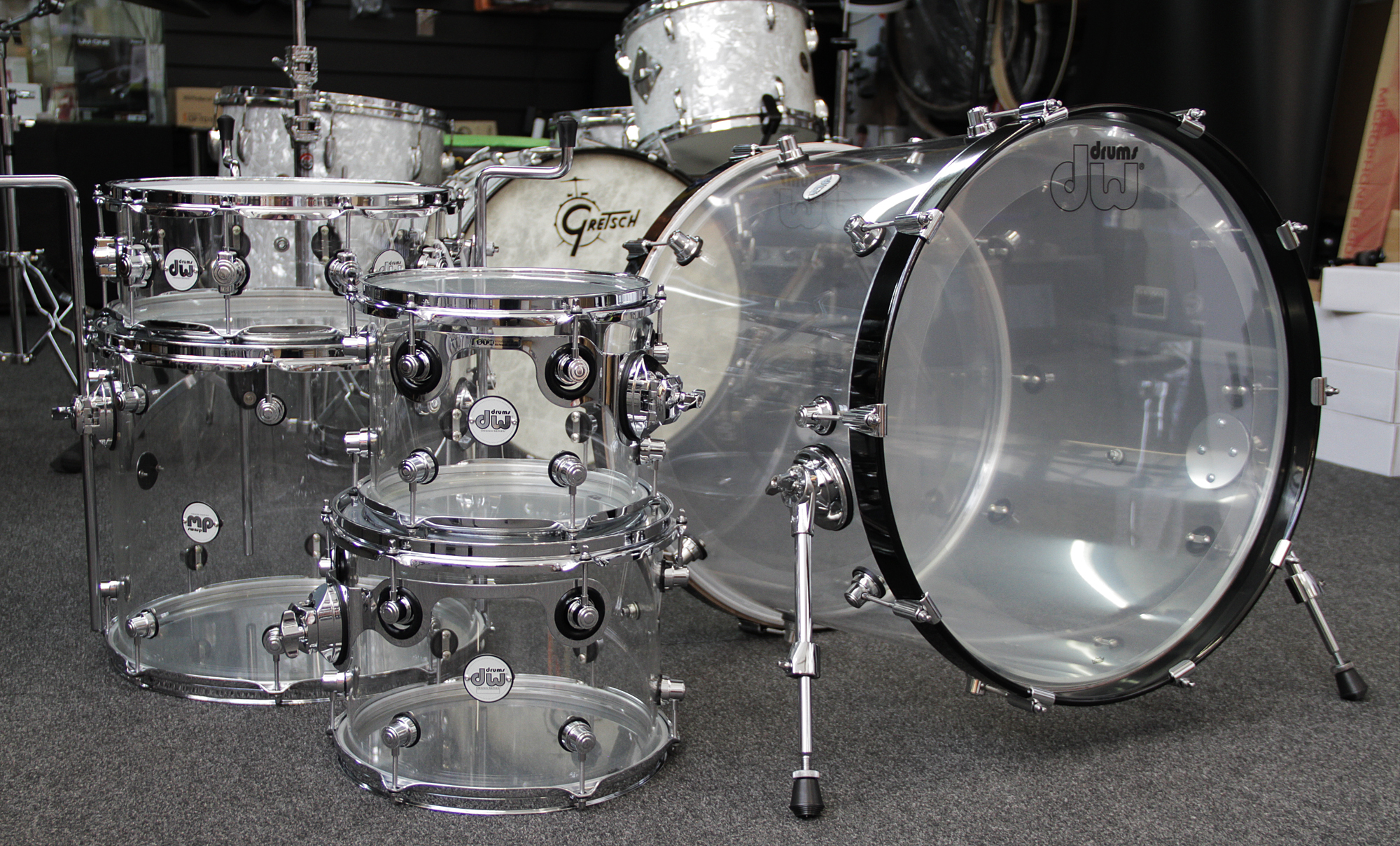 drums dw design series clear acrylic drum kit shell pack in stock now. Black Bedroom Furniture Sets. Home Design Ideas