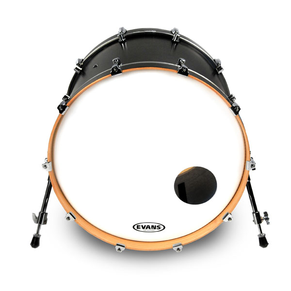 reso bass drum heads evans 26 eq3 smoth white bass head front port. Black Bedroom Furniture Sets. Home Design Ideas